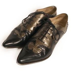 Black & Bronze Leather Pointed Toe Oxfords, 8.5